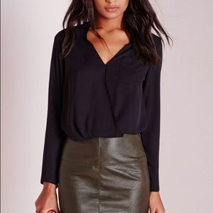Missguided Skirts - Missguided Faux Leather Khaki Mini Pencil Skirt